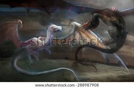dragon hunting dragon on field - stock photo