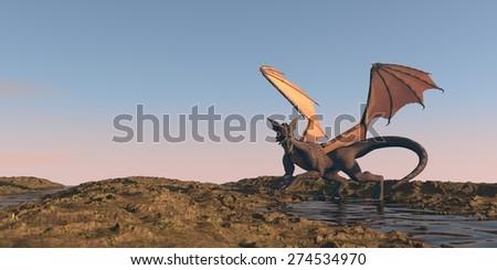 dragon in desert - stock photo