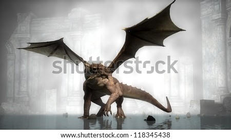 dragon in fog on ruins background - stock photo