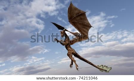 dragon in the sky - stock photo