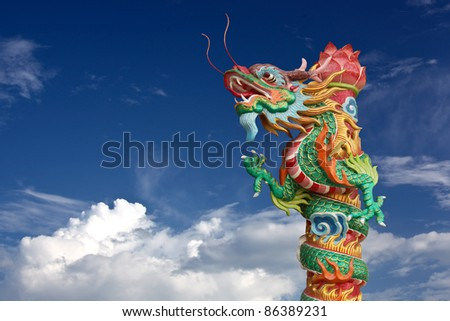 Dragon on pole in Chinese temple - stock photo