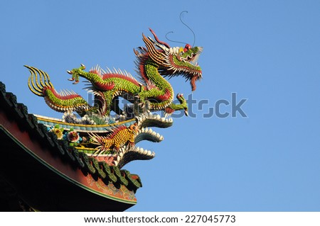Dragon on the Buddhist temple