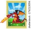 Dragon on the fairytale landscape - stock