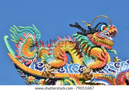 Dragon on the roof corner of Chinese temple