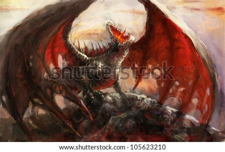 Dragon resting on the mountain top - stock photo