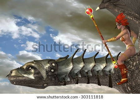 Dragon Rider - A young woman in tribal fashion guides her dragon with a magic staff flying through the clouds. - stock photo