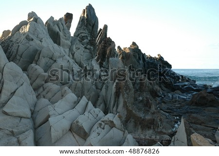 Dragon's tooth ridge in Maui, Hawaii. Rocks form teeth like look