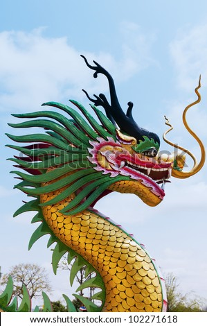 Dragon sculpture in the sky - stock photo