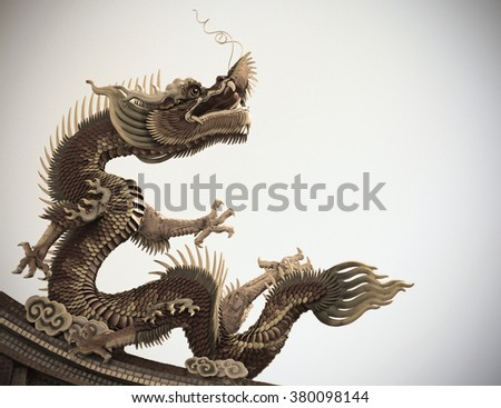 Dragon statue Chinese style on roof in temple