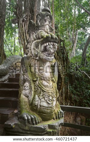 Dragon Statue in the Sacred Monkey Sanctuary, Bali, Indonesia