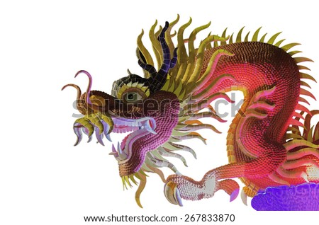 Dragon statue isolated on the black background - stock photo