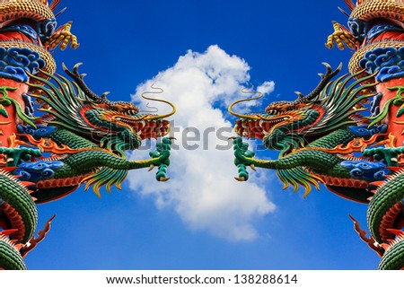 dragon statue on the Sky background. - stock photo