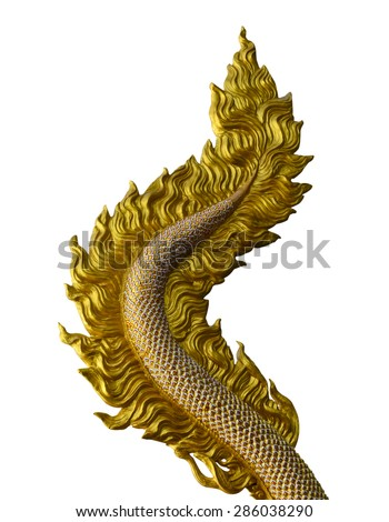 Dragon tail sculpture isolated on white background with working path - stock photo