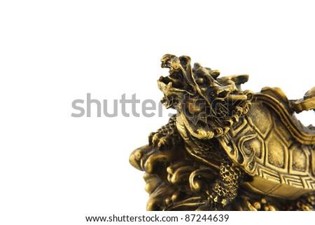 Dragon Turtle statue on white background - stock photo