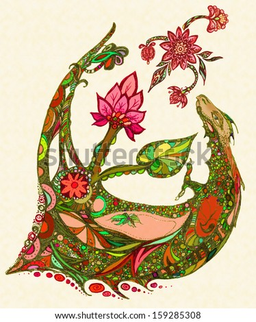 Dragon with a lotus flower and leaf - stock photo