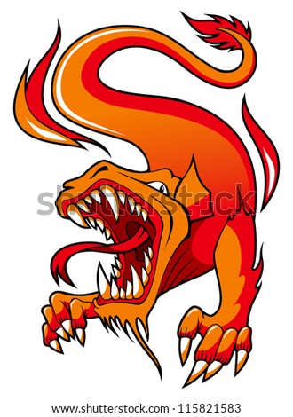 Dragon with open mouth surrounded by fire, hi-res raster from vector illustration