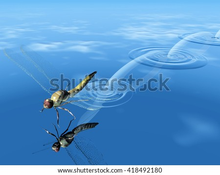 dragonfly  jump on the water 3D illustration