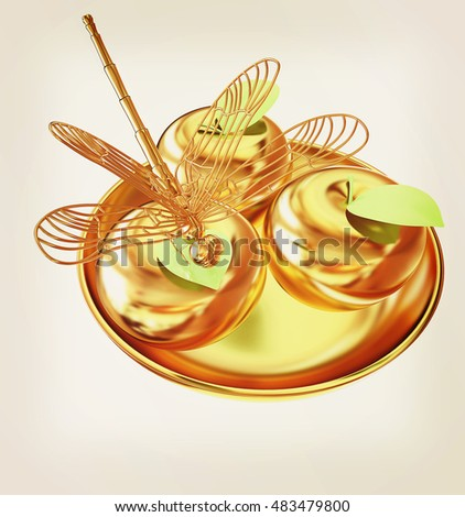 Dragonfly on gold apples. 3D illustration. Vintage style.