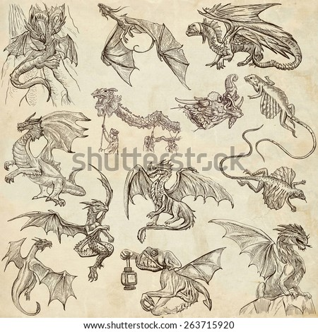 DRAGONS. Collection of an hand drawn full sized illustrations (freehand sketches, originals). Drawings on old paper. - stock photo