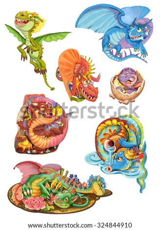 Dragons set on a white background. Raster illustration - stock photo