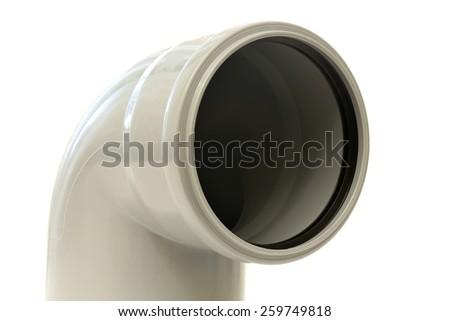 Drain pipe grey corner on white background - stock photo