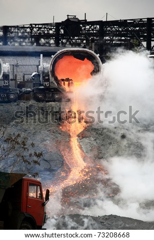 drain slag at steel plant