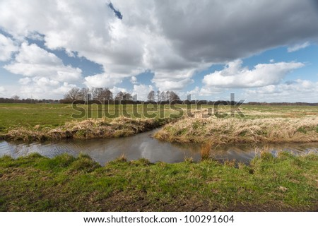 Drainage channels in the North German lands. - stock photo