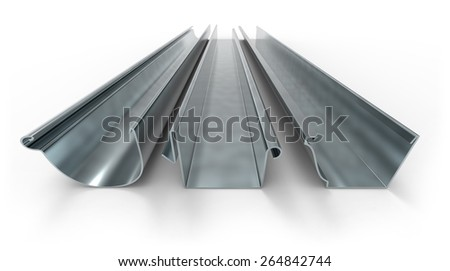 Drainage gutters isolated on white - stock photo