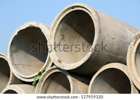 drainage pipe against blue sky. - stock photo