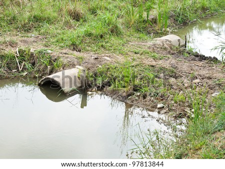 Drains pipe in small canal behind the factory. - stock photo