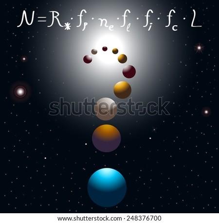 Drake equation - stock photo