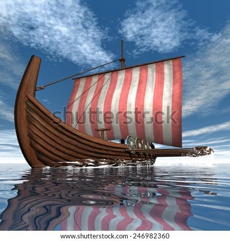 Drakkar or viking ship floating on the ocean -3D render - stock photo