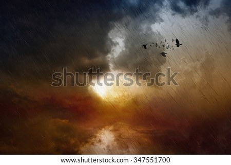 Dramatic apocalyptic background - dark stormy sky, red glowing light, black rain, flock of flying ravens in moody sky, ecological catastrophe - stock photo