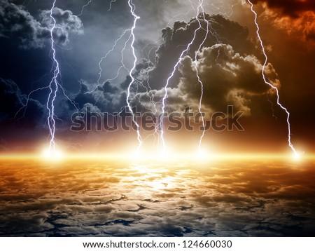 Dramatic apocalyptic background, end of world, bright lightnings, armageddon. - stock photo