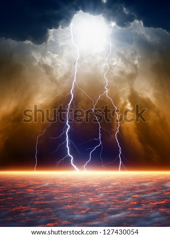 Dramatic apocalyptic background, end of world, bright lightnings, light from above, armageddon. - stock photo