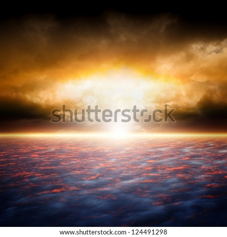 Dramatic apocalyptic background, end of world, red sunset, armageddon, hell, big explosion - stock photo