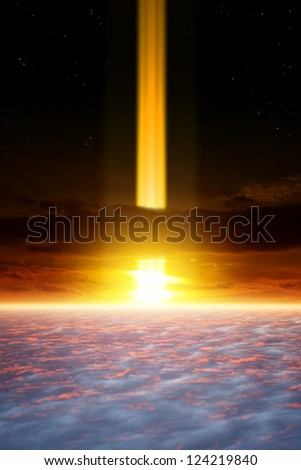 Dramatic apocalyptic background, end of world, spotlight in dark sky, armageddon, asteroid impact