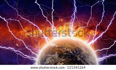 Dramatic apocalyptic background, mayan end of time, lightnings hits planet earth, armageddon. Elements of this image furnished by NASA/JPL-Caltech - stock photo