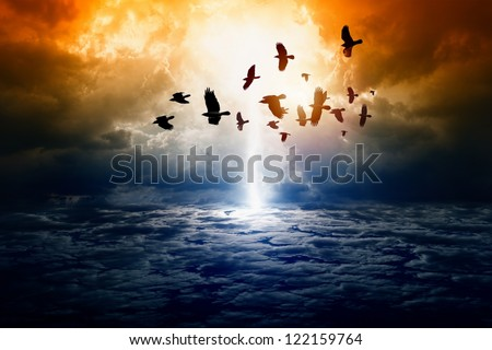 Dramatic apocalyptic background, mayan end of world, bright lightning, flock of flying ravens, crows in dark sky, armageddon. - stock photo