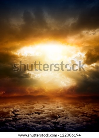 Dramatic apocalyptic background, mayan end of world, red sunset, armageddon, hell, big explosion - stock photo