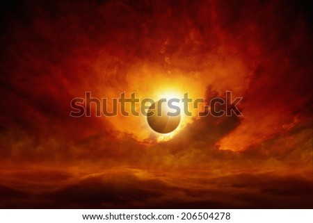 Dramatic apocalyptic background - sun eclipse, dark red sky, glowing horizon - stock photo