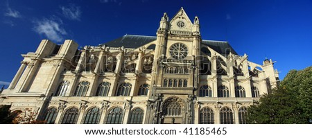 Dramatic architecture on a cathedral in Paris: Saint Eustache, with a panoramic view