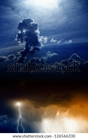 Dramatic background - lightning and rain in sunset sky, dark clouds, light from above - stock photo