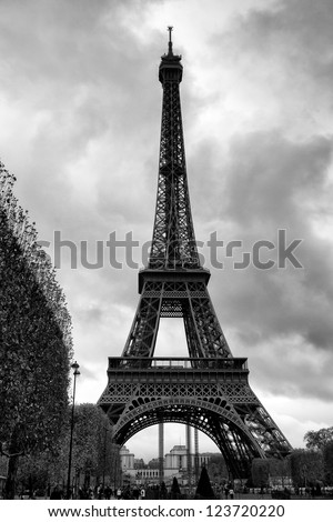 Dramatic Black and White Eiffel Tower on a Rainy Day in Paris - stock photo