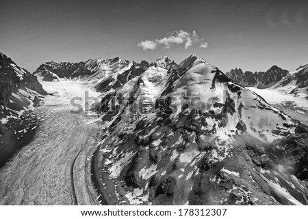 Dramatic Black and White Landscape of Denali or Mt Mckinley and Glacier from Airplane Alaska