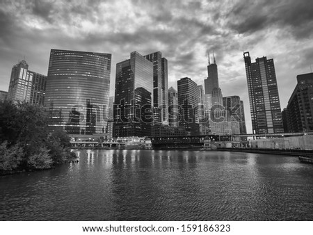 Dramatic Black and White Skyline of Chicago from Boat at Sunset