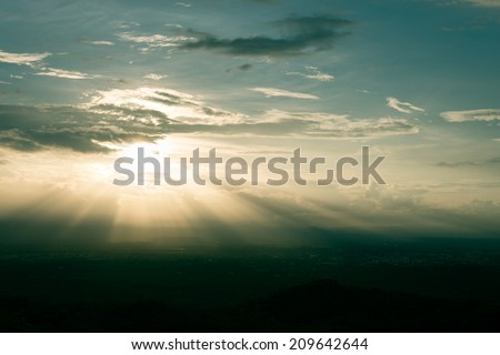 Dramatic blue sky with clouds - stock photo