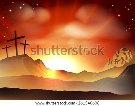 Dramatic Christian Easter concept of Jesus and the two thieves crosses on Calvary hill outside the city walls - stock photo