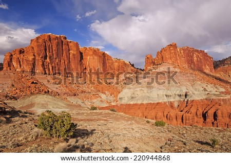 Dramatic Cliffs near Spring Canyon in Capital Reef National Park - stock photo