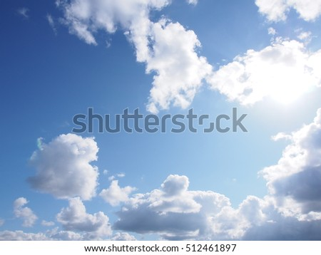 Dramatic clouds of the late autumn in bright sunlight background